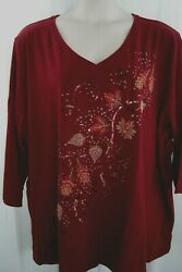Catherines Plus 5X 34 36W Burgundy Embellished Fall Autumn Leaves Knit Top NWT $27.99
