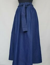 STEP IN STYLE Casual Full Maxi Skirt with Tie Waist Denim Blue Size Large $36.50