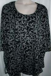Catherines Plus 5X 34 36W Black White Swirl Extra Long STRETCHY Top Tunic NWT $18.99