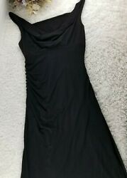 White House Black Market black cocktail dress SIZE 10 ruched side cowl neck B $26.90