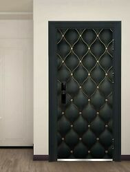 Door Sticker Black Gold Damask Geometric Design Elegant Chic Modern Home Decor $39.00