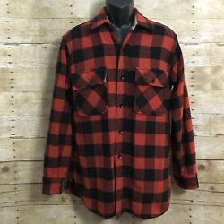 Sears Size 15 M Wool Casual Shirt Red Black Buffalo Plaid Button Front Vintage $39.99