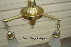 00001 SHEFFIELD Brass Hanging Antique Chandelier with 3 shades Light Fixture $245.00