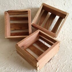 Mini Wooden Crates Set of 3 Handmade Rustic for Display Craft... $11.95