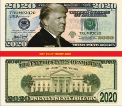 Donald Trump 2020 Dollar Bill Presidential MAGA Novelty Funny Money $1.49