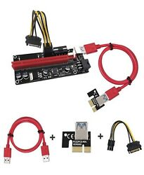 6 pack Multi Interface PCI E Riser with Express Cable 1X 16X Graphics Extension $59.99