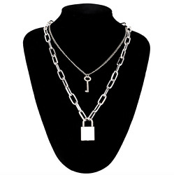 Double Layer Chain Necklace Lock Pendant Silver Punk Gothic Fashion $9.90