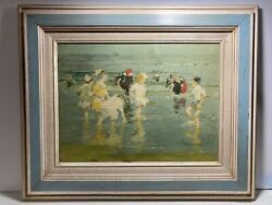 Children On The Beach Impressionism Oleograph Edward Henry Potthast $75.00