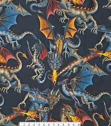 """Alexander Henry Novelty Cotton Fabric Tales Of The Dragon Cotton 18quot; X 44"""" $11.69"""