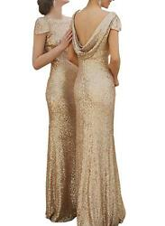 Elegant Sequined Long Bridesmaid Dress Draped Open Back Mermaid Formal Gowns 16