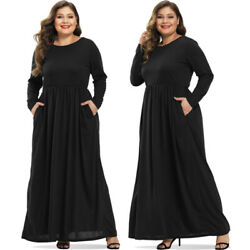 Women Plus Size Long Sleeve Maxi Casual Party Cocktail Evening Full Long Dresses $17.09
