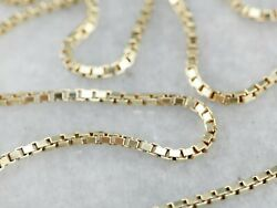 14K Solid Yellow Gold Box Necklace Real Gold Chain 22quot; Inch $74.99