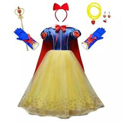 Girls Snow White Princess Costume Long Fancy Party Dress Cosplay 3 10T $25.98