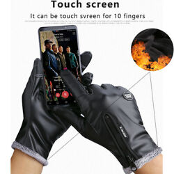 Men Winter Keep Warm Gloves Leather Touch Screen Windproof Driving Fleece Gloves $11.59