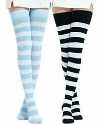Kayhoma Extra Long Cotton Stripe Thigh High Socks Over the Knee High Plus Size $18.99