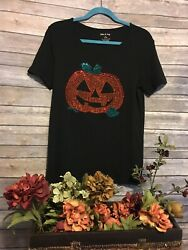 Women's Size Large Novelty T shirt Rhinestones Halloween Jack o lantern Black $19.99
