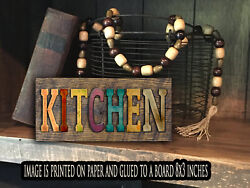 Kitchen sign wood Farmhouse kitchen rustic home decor farm PRINT 8x3x1 8quot; $15.99