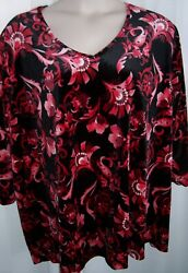 Catherines Plus 5X 34 36W Red Black Scarlet Floral Velvet Soft Top Tunic NWT $24.99