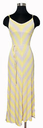 Bebe yellow gray chevron stripe spaghetti strap v cut maxi dress xs $29.99