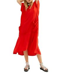 Free People Crisp And Cool Oversized Red V Neck Endless Summer Midi Dress L NEW $62.97