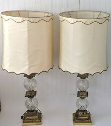 Pair of 1960s Huge Brass Etched Ctystal Lamps Scalloped Drum Lamp Shades Vintage $225.00
