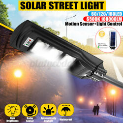 50 100 150W LED Commercial Solar Street Lights Lamp Outdoor COB Sensor w Remote