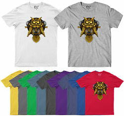 Gold owl Mens T Shirt Funny Aesthetic Designs Vintage Novelty Adults Tee Top GBP 9.49