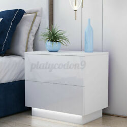 High Gloss Nightstand Modern 2 Drawers Bedside End Table Bedroom w RGB LED Light $84.99
