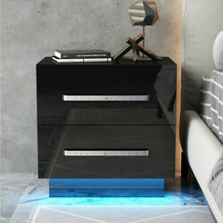 High Gloss Nightstand w LED RGB Light 2 Drawers Modern Bedside End Table Bedroom $89.99