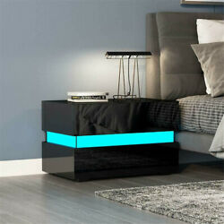 Modern High Gloss Nightstand 2 Drawers Bedside End Table Bedroom w RGB LED Light $109.99