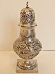 ANTIQUE LARGE SUGAR SPICE CASTER W HANDCHASED SEASCAPES DUTCH 1902 .833 SILVER $219.99