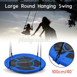 40#x27;#x27; Tree Swing Round Rotate Seat Hanging Rope Tire Flying Saucer Children Game $53.57
