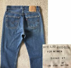 Vintage Levi#x27;s 501 For Women High Rise Medium Wash Button Fly Jeans 28Wx32L $99.00