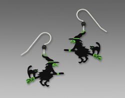 Sienna Sky FLYING WITCH Cat BROOM Earrings 1574 STERLING Silver Halloween Fall $23.00