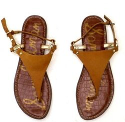 Sam Edelman Greta Suede Leather Sandals Women#x27;s US Size 8.5 M Tan thong style $30.00