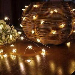 Christmas LED Lights Stars Indoor Night String Lamps Battery Powered Copper Wire $9.74