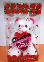 Red Rose White Heart Artificial Teddy Bear 9quot; W Case Valentine#x27;s Day Birthday $26.99