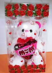 Red Rose White Heart Artificial Teddy Bear 9quot; Valentine#x27;s Day Birthday Day Gift $26.99