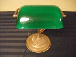 Antique Bankers Desk Lamp Brass Green Glass Shade Pull Chain NICE $75.00