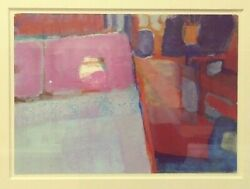Vintage Mid Century Modern Abstract Painting Watercolor Gouache Framed Bedroom $75.00