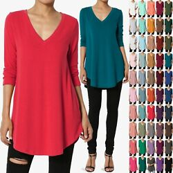 TheMogan S 3XL Essential 3 4 Sleeve V Neck Draped Jersey Knit Rounded Hem Top $13.99