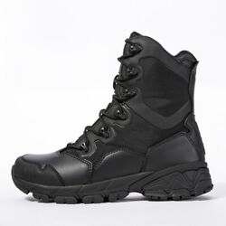 Men#x27;s Black Leather Army Boots Military Tactical Combat Waterproof Hiking Boot $32.99