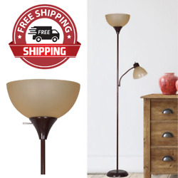 New Metal Floor Lamp with Reading Light for Living Room Uplight Stand 72quot; Brown $27.99