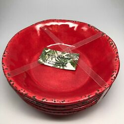 Tommy Bahama Melamine 4 Bowl Set Red Crackle Tuscan Rustic for Cereal Soup $32.99