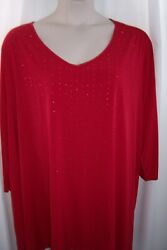 Catherines Plus 5X 34 36W Red Sparkle Studs LIGHTWEIGHT STRETCHY Top Tunic NEW $20.99