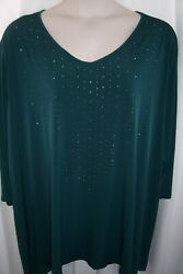 Catherines Plus 5X 34 36W Green Sparkle Studs LIGHTWEIGHT STRETCHY Top Tunic N $20.99