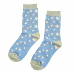 Ladies Stars Star Socks Bamboo Pale Blue Novelty 4 7 Miss Sparrow GBP 6.45