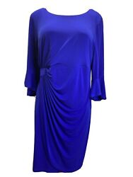 NWT Connected Size 22W Royal Blue Lisa Bell Sleeve Dress Cocktail Plus Faux Wrap $34.99