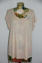 Ann Taylor LOFT Linen Plus Women#x27;s XXL 100% Linen Knit Top Tee Beige Semi Sheer $14.00