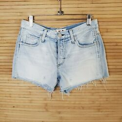 AMO Babe embroidered flower Womens Cut Off Jeans Shorts Blue Size 26 $16.19